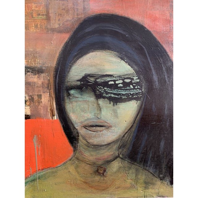 Lovely multi media painting depicting an abstract portrait of a female. Features textured colors of olive, ebony, mandarin...