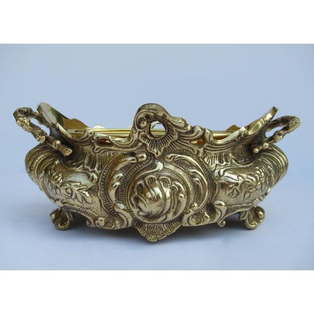 Vintage Brass Ornate Planter W/Brass Interior Liner For Sale - Image 13 of 13