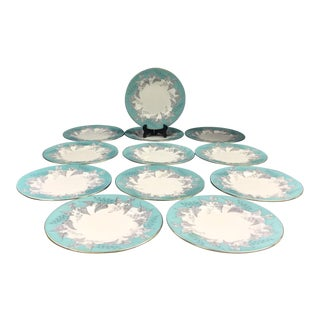 "Wedgwood ""Buxton"" Gold Trim Turquoise and Gray Leaf Banded Bone China Salad Plates - Set of 12 For Sale"