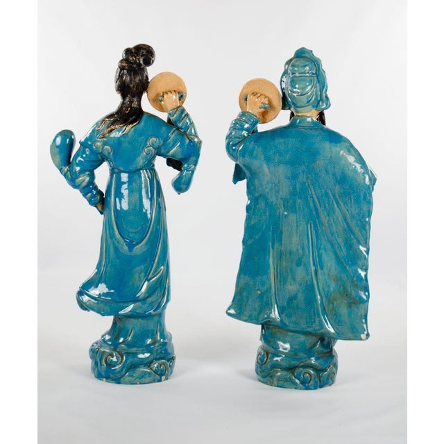 Chinese Ming Dynasty Style Male and Female Porcelain Statues - a Pair For Sale - Image 12 of 13