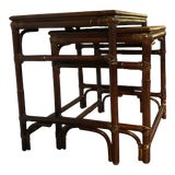 Image of Mitchell Gold & Bob Williams Modern Bamboo Rattan Nesting Tables - a Pair For Sale
