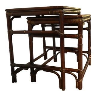 Mitchell Gold & Bob Williams Modern Bamboo Rattan Nesting Tables - a Pair For Sale