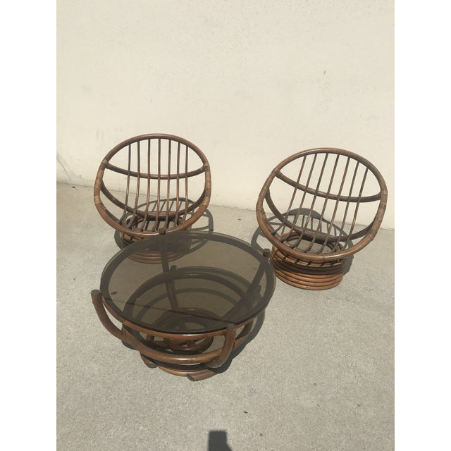 Boho Chic Vintage 60s Rattan Papasan Swivel Rocking Chairs & Table - Set of 3 For Sale - Image 3 of 9