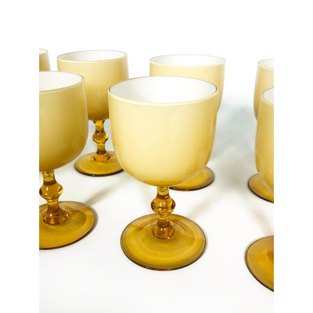 Mid 20th Century Vintage Carlo Moretti Butterscotch Cased Glass Wine Glasses - Set of 10 For Sale - Image 5 of 9