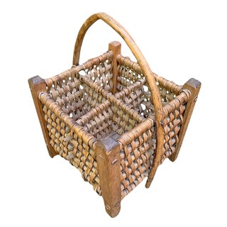 Early 20th Century French Wine Carrier Basket For Sale