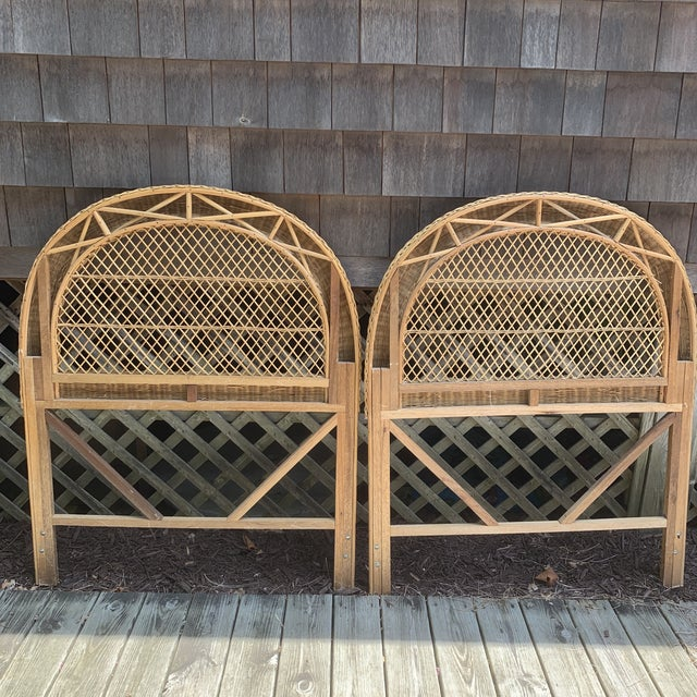 Boho Chic Vintage Wicker Headboards- a Pair For Sale - Image 3 of 13