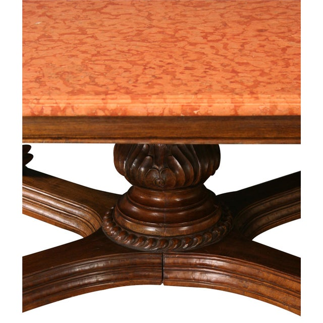 French Country Antique French Marble Top Dining Table For Sale - Image 3 of 8