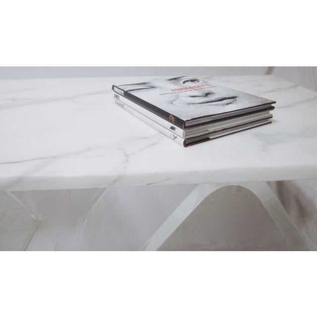 Lucite Base Coffee Table with Marble Top - Image 7 of 11