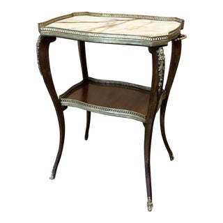 19th Century French Louis XVI Marble Top End Table For Sale