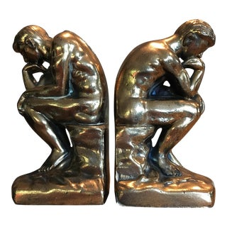 Rodin's the Thinker Cast Brass Bookends - A Pair For Sale