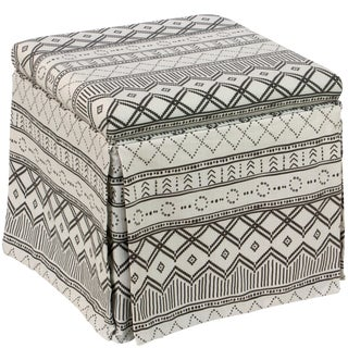 Skirted Storage Ottoman in Kuba Ink