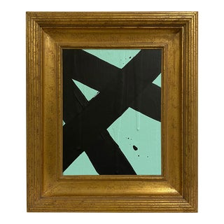 Ron Giusti Mini Abstract Mint Black Acrylic Painting For Sale