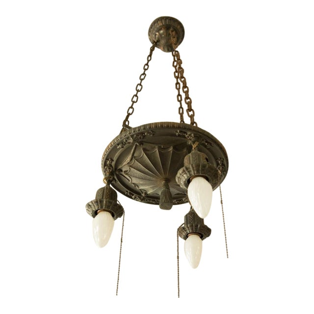 Pair of Two Victorian Original Flush Mount Chandelier - Image 1 of 8