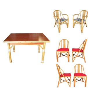 Restored Mid-Century Rattan and Mahogany Dining Set For Sale