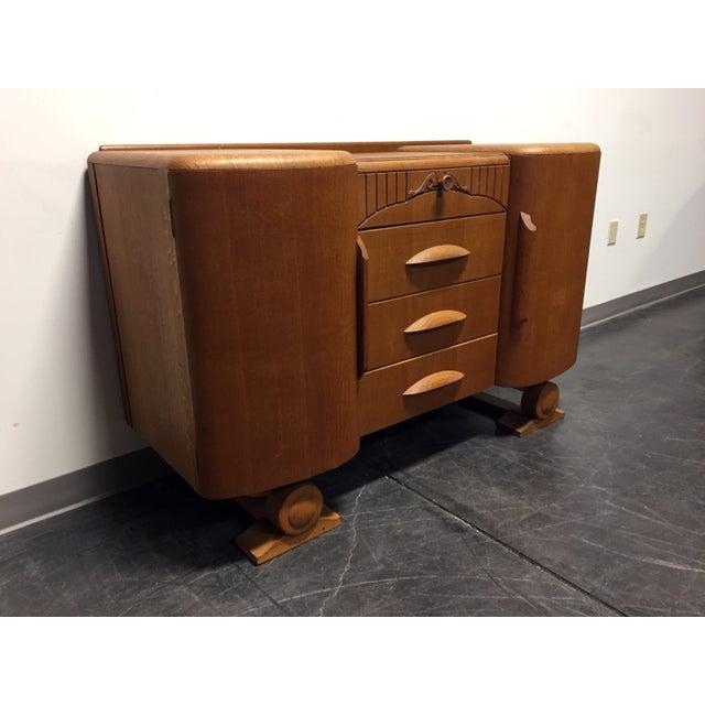 Art Deco Harris Lebus Vintage Art Deco Tiger Oak Sideboard For Sale - Image 3 of 11