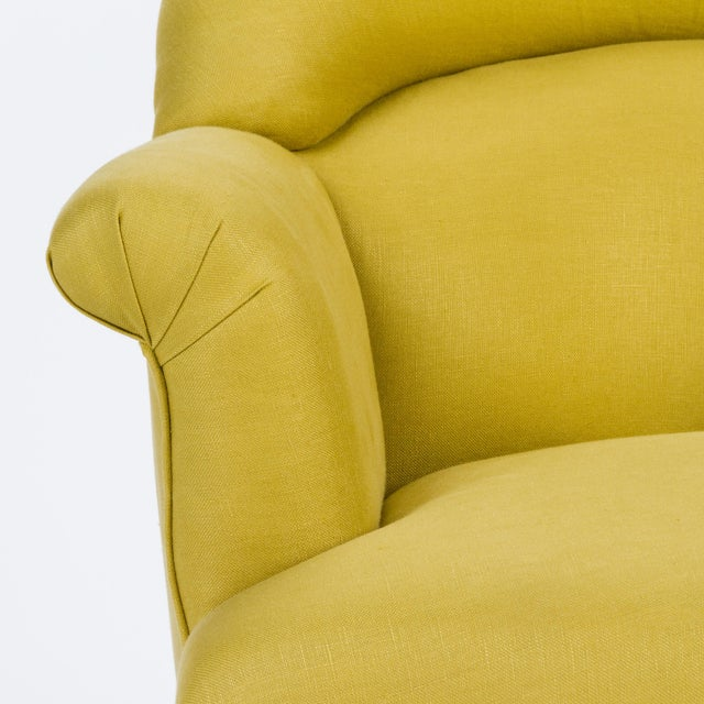 Casa Cosima Napoleon III Chair in Citron Linen, a Pair For Sale In Los Angeles - Image 6 of 9