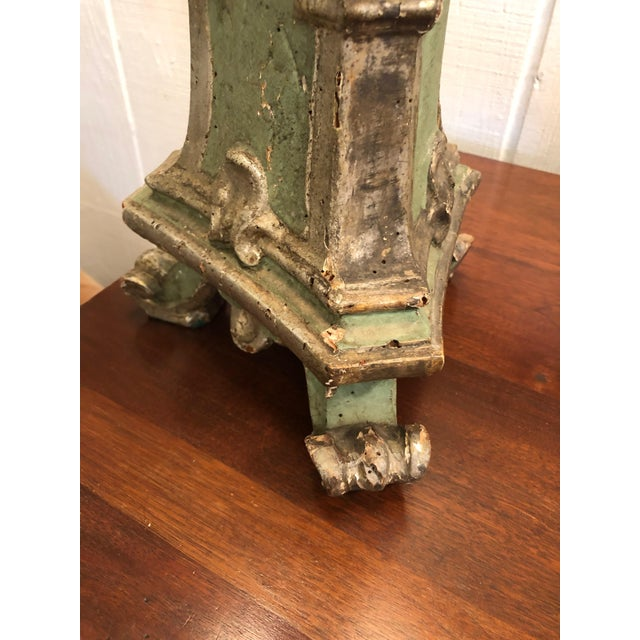 Mid 19th Century Romantic Very Tall Carved Wood and Gilded Italian Table Lamps For Sale - Image 5 of 13