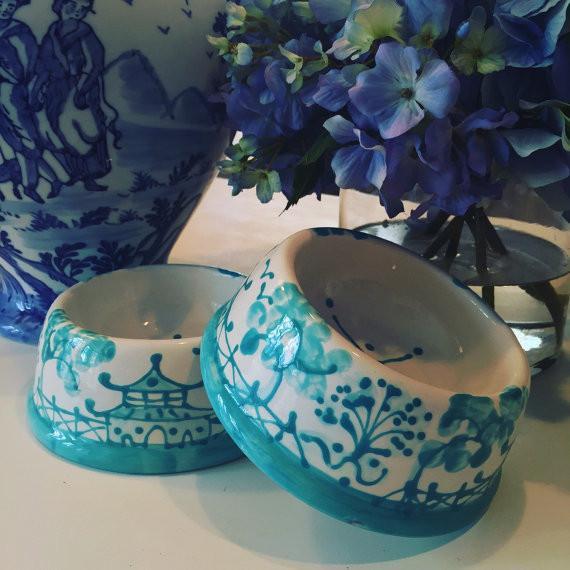 Caribbean Blue Chinoiserie Dog Bowl - Image 4 of 4