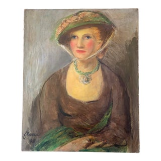 """1948 """"Portrait of a Woman"""" Figurative Oil Painting For Sale"""