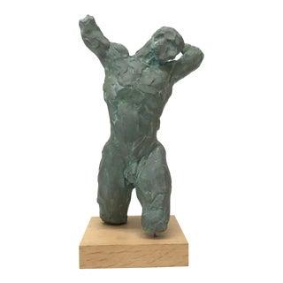 Verdigris Copper Figurative Male Sculpture For Sale