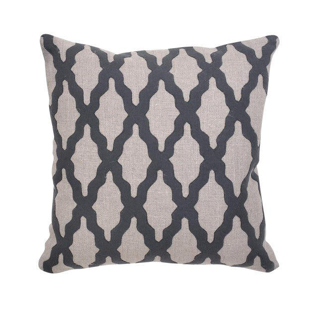 Transitional Charcoal Felt & Linen Pillow For Sale