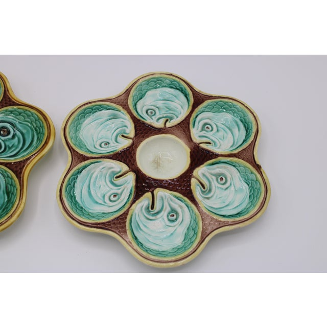 Ceramic Antique Wedgewood Majolica Ceramic Oyster Plates For Sale - Image 7 of 12