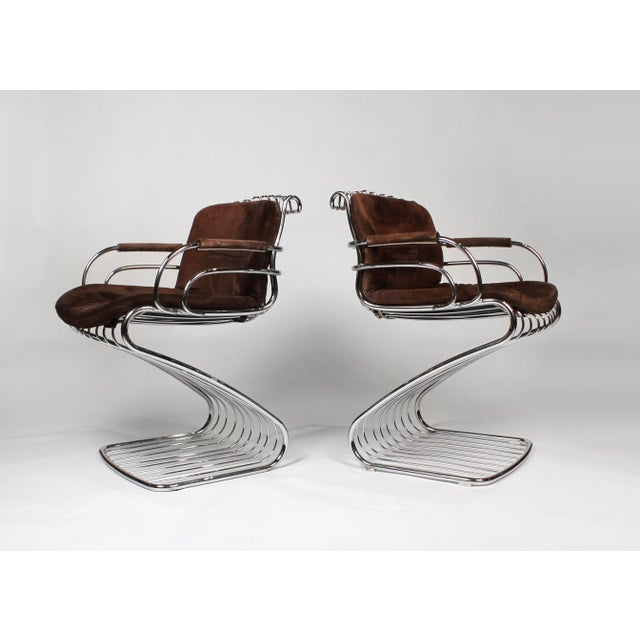 1960s Gastone Rinaldi Italian Modernist Solid Steel Dining Chairs for Rima - Set of 6 For Sale - Image 5 of 10