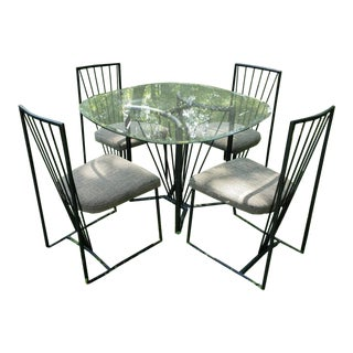 Vintage Cal-Style Minimalist Postmodern Dining Set- 5 Pieces For Sale