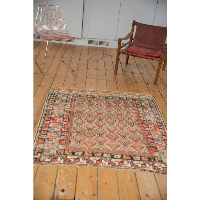"Antique Hamadan Square Rug - 4'1"" x 4'9"" For Sale - Image 9 of 12"