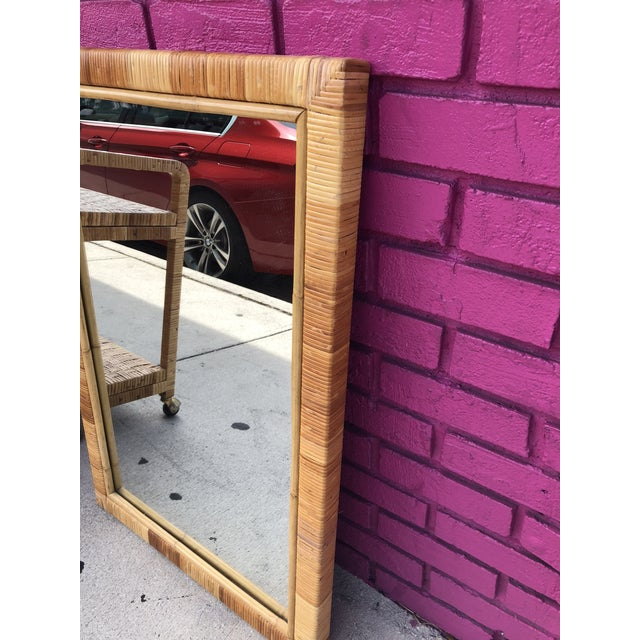 1980s Vintage Rectangular Bamboo and Rattan Wall Mirror For Sale - Image 5 of 7