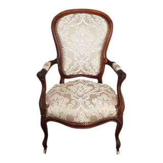 Vintage Reupholstered French Voltaire Louis XV Style Oak Armchair For Sale