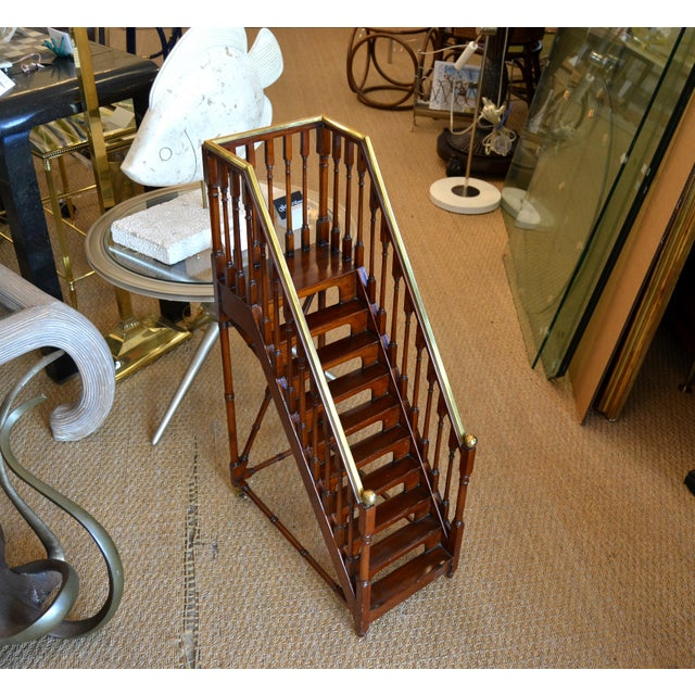 Architectural Decorative Victorian Walnut & Brass Library Steps, Ladder, Stairs For Sale - Image 4 of 13