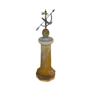 Vintage Mixed Metal Garden Sundial on a Cast Stone Pedestal For Sale