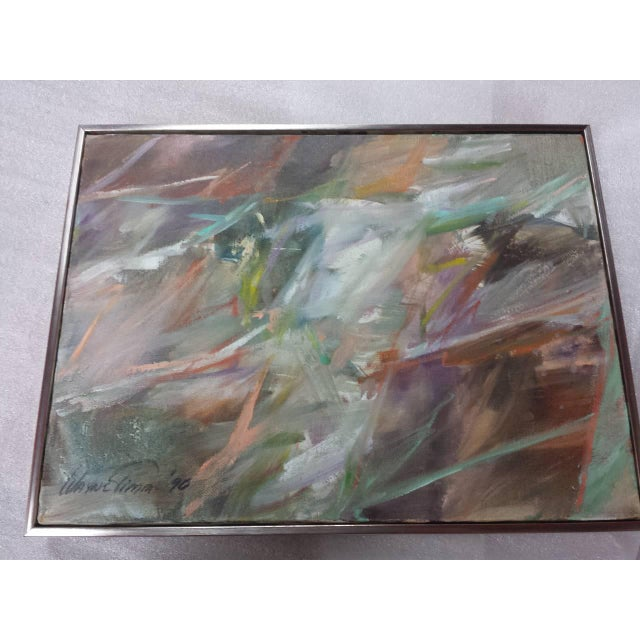 """Oil Paint 1990s Abstract Oil on Canvas Painting """"Classic"""" by Wayne Timm For Sale - Image 7 of 9"""