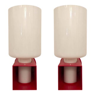 1980s Italian Modernist Red Enamel Box Frame Wall Lights - a Pair For Sale
