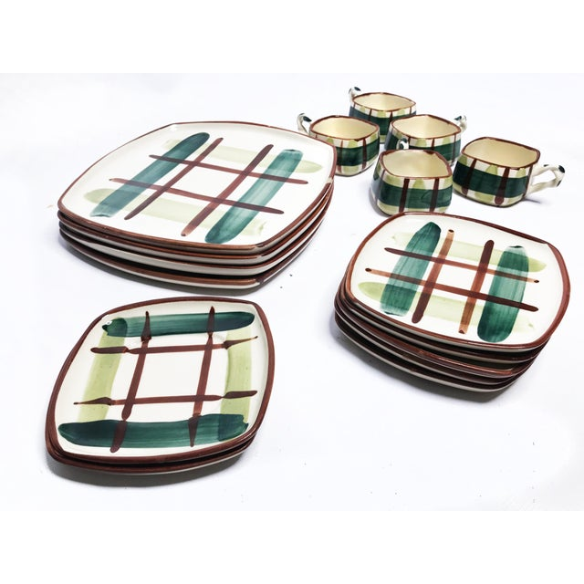 Vintage 1950's mid century 16 piece set of hand painted and signed classic plaid Blair Ceramics. This set includes 4 large...