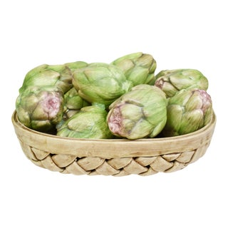 Italian Porcelain Artichoke Vegetable Wicker Basket Bowl For Sale