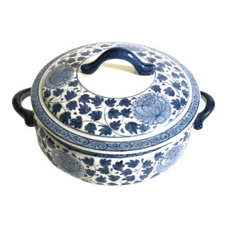 Indigo Ceramic Soup Tureen - Hand Painted in Thailand For Sale
