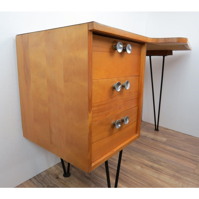 1950's Mid-Century Modern Mengel Writing Desk With Hairpin Legs For Sale In Chicago - Image 6 of 13