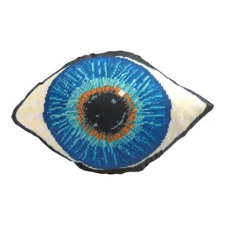 """Emerson"" Blue Eye Pillow, Textile Art For Sale"