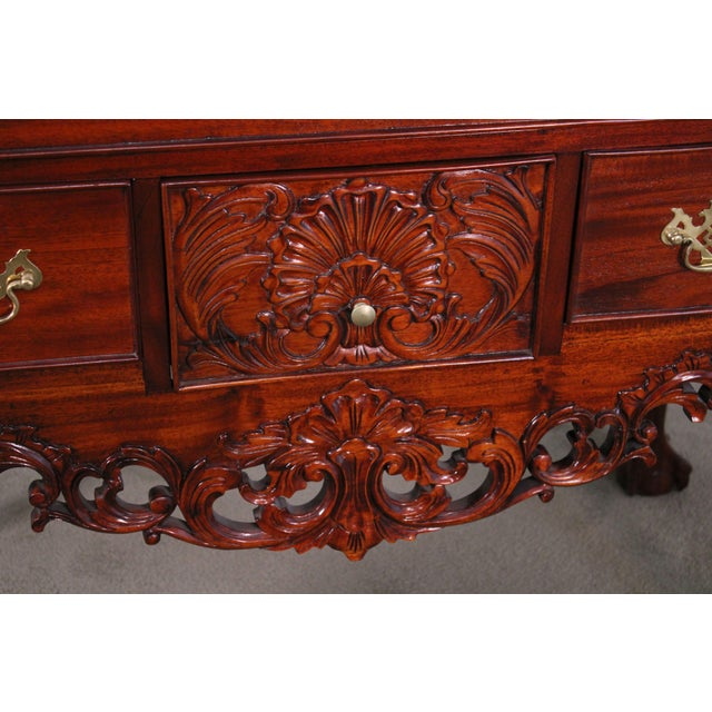 Chippendale Style Pair Carved Mahogany Ball & Claw Foot Lowboys For Sale - Image 12 of 13