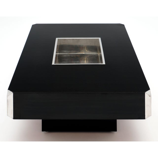 Metal Italian Vintage Ebonized Coffee Table With Chrome by Willy Rizzo For Sale - Image 7 of 10