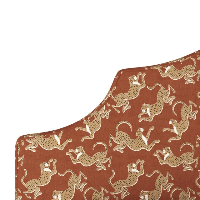 Leopard Run Burnt Orange California King Headboard For Sale - Image 4 of 6