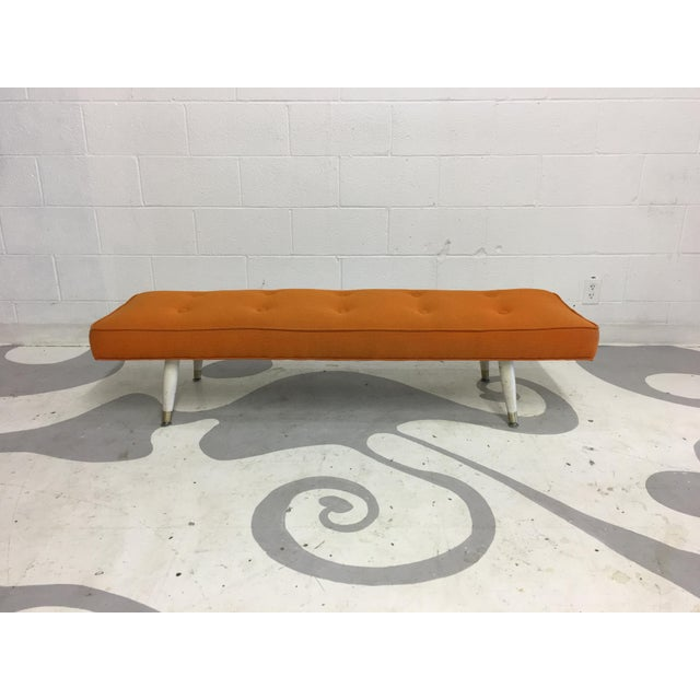 Mid-Century Modern Orange Bench - Image 2 of 6