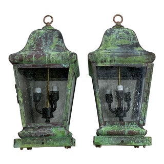 1990s Four Sides Solid Brass Hanging Lanterns - a Pair For Sale