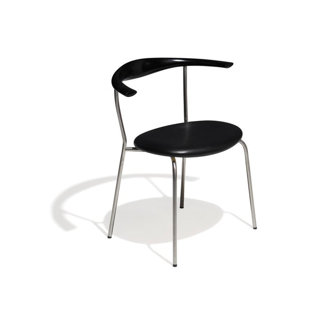 Set of 4 Hans Wegner PP701 Bull Horn Dining Chairs in Black Lacquer, Leather and Steel For Sale - Image 10 of 13