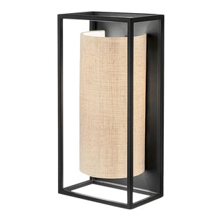 Black Rectangular Wall Light With Semi-Cylinder Shade For Sale