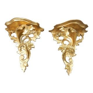 Pair of Antique Intricate Gilt Wood Gesso Florentine Shelves For Sale