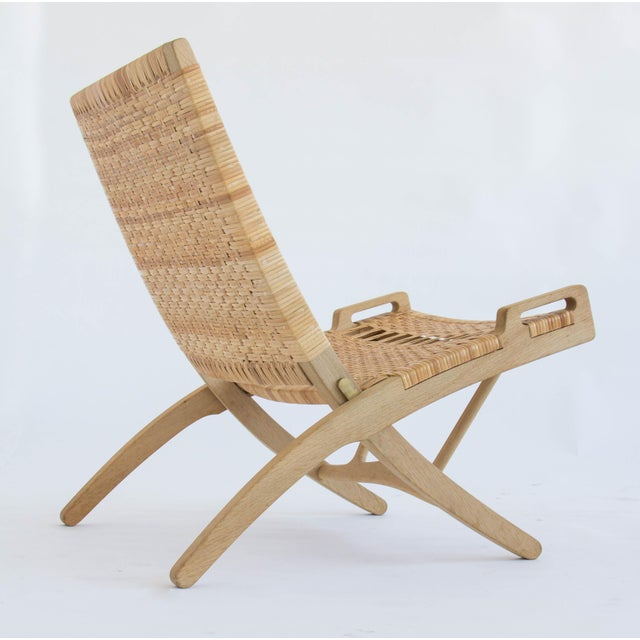 Caning Hans Wegner Folding Lounge Chairs - A Pair For Sale - Image 7 of 11