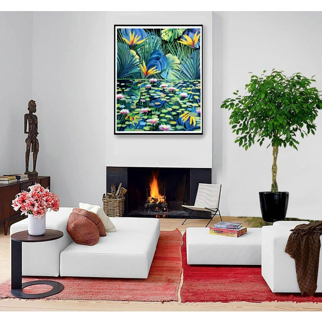 """""""Reflection"""" Tropical Acrylic Painting For Sale - Image 4 of 10"""
